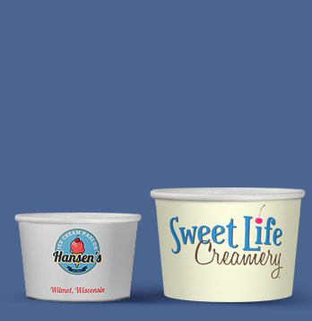 printed paper cups for ice cream various sizes short run