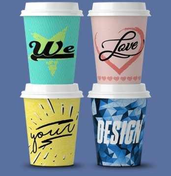 printed paper cups high resolution full colour all-over printing short lead time