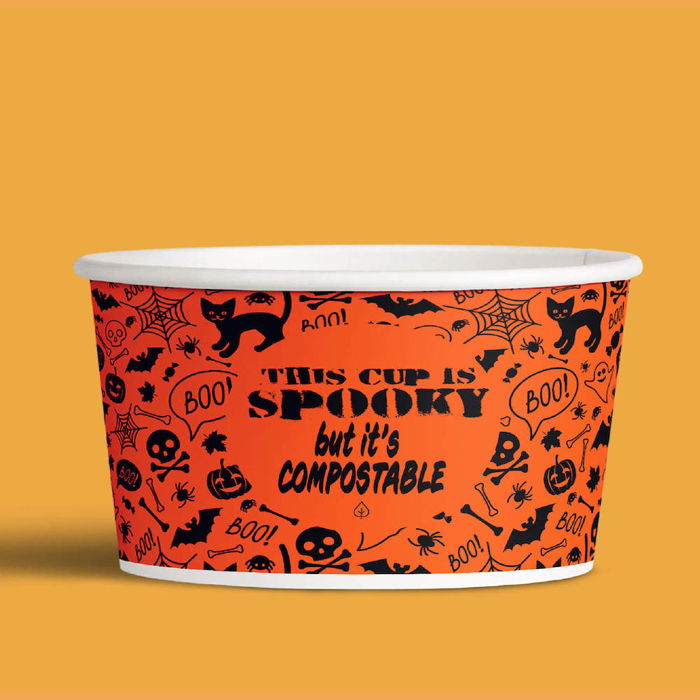 image of halloween themed compostable ice cream cup