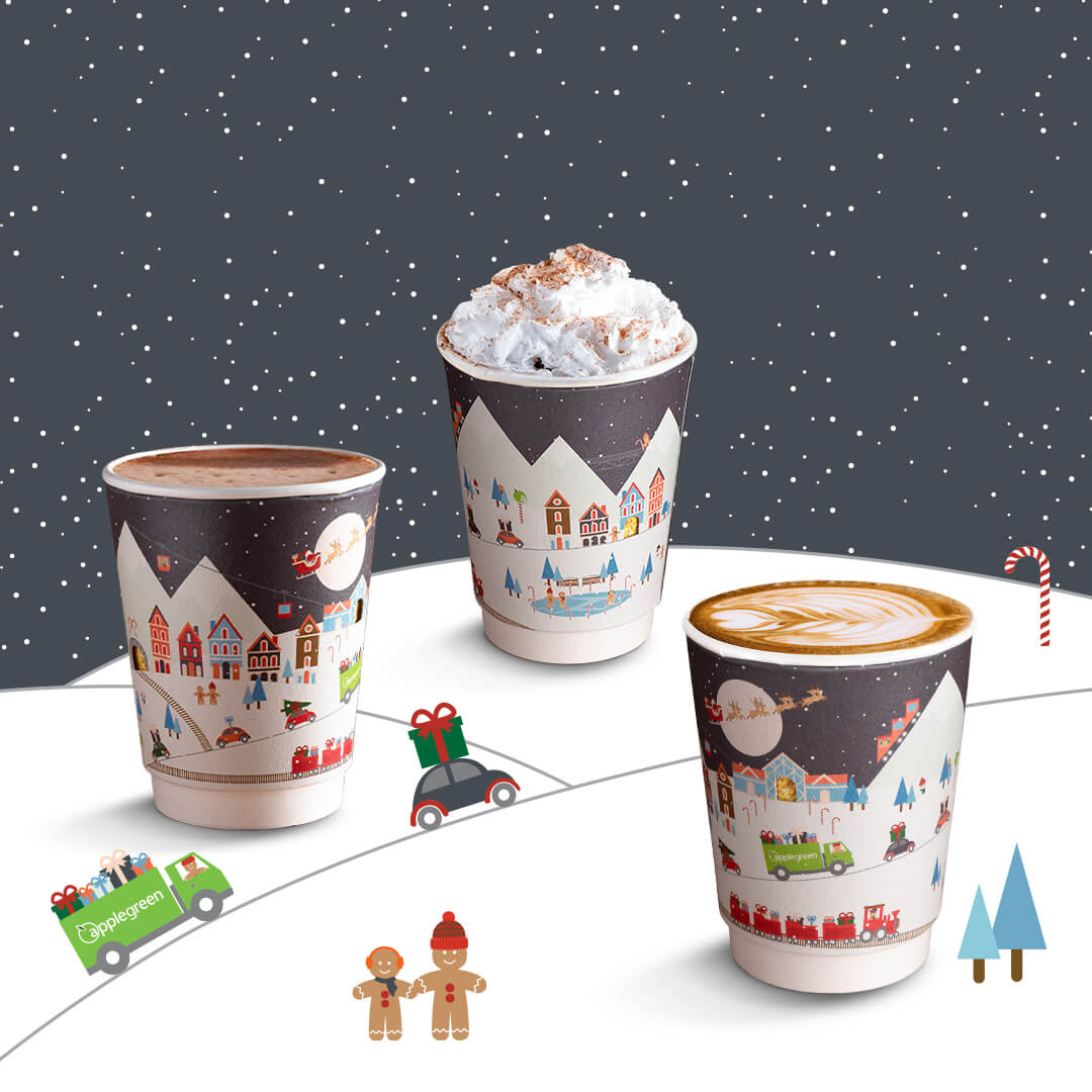 Image of custom printed recyclable 2020 Christmas paper Cup for Applegreen